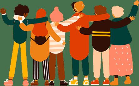 Grupo de pessoas se abraçando
